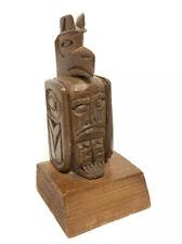 Jim Yelton Carved Cedar Wood Totem Bird Man Artist Signed Salish Nation Tribe BC