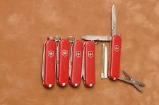 Lot of 5 Red Victorinox Classic SD Swiss Army knives knife used keychain knives