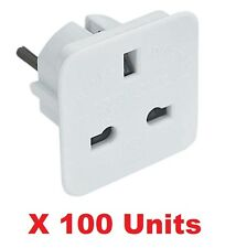 100 X UK To EU Euro Europe European Travel Adaptor Plug 2 Pin Adapter *Approved*