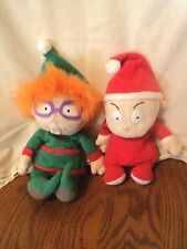 Mattel Christmas Rugrats Elf Chuckie Santa Pajamas Tommy Bean Bag Plush Lot of 2