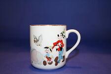 Disney Coffee Mug MICKEY PARADE Japan Pluto Donald Dumbo Duck Goofy Gold Rim