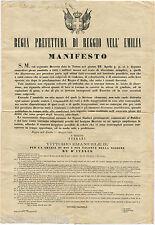 MANIFESTO, REGIA PREFETTURA REGGIO EMILIA, MAG 1868, AMNISTIA DISERTORI     m