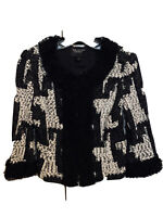 ST. JOHN COUTURE Knit Jacket Houndstooth Black White Boucle Rosette Details sz2