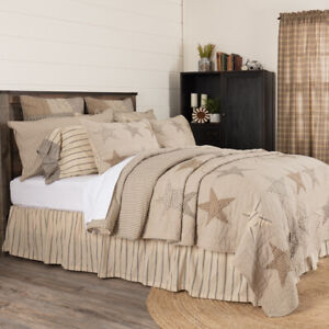 VHC Brands Farmhouse Queen Quilt Tan Independence Day Patchwork Bedroom Decor