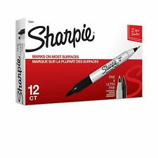 Sharpie Twin Tip Permanent Markers Fine And Ultra Fine Black 12 Count 32001