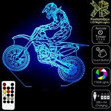 DIRT BIKE MOTOCROSS MOTOR LED BATTERY USB NIGHT LIGHT LAMP + REMOTE 7 COLOUR