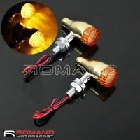 Motorcycle 10mm E-Mark 12V LED Brass Turn Signal Indicators For Harley-Davidson