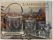 Godinger Italian CUT CRYSTAL Barware 7 pc BAR SET 4 Tumblers, Ice Bucket & Tray