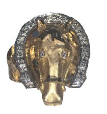 MEN'S 14K YELLOW GOLD AND DIAMOND HORSESHOE RING 15.4 GRAMS 0.30 Ct