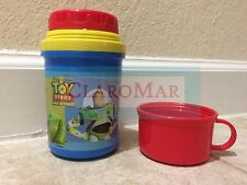 ☀Vintage Disney TOY STORY Thermos w/ Cup Buzz Lightyear Woody Lunch Travel MINT