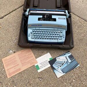 Smith Corona Coronet Super 12 Coronamatic Typewriter baby blue With brown Case