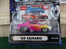 Muscle Machines 69 Chevy Camaro Pink 1:64 Diecast Chevrolet Model Car 1969 01-79