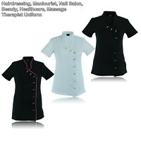 Black Red Beauty Tunic Hairdresser SPA Nail Salon Therapist Massaging Uniform