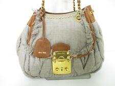 Auth Miu Miu Gathered Bag Gray*Brown Hemp*Leather Shoulder Bag w/Clochette/Key
