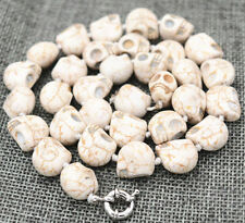 Skull Head Beads Mala Necklace 18�Aa+01 Hot New 10x14mm White Turquoise Carved