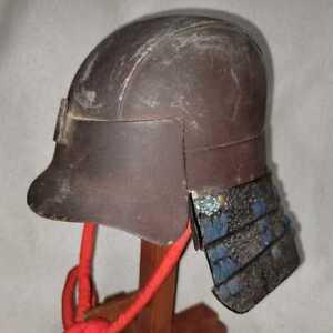 Real old iron Japanese KABUTO (helmet) of SAMURAI's armor YOROI in 1700s Japan