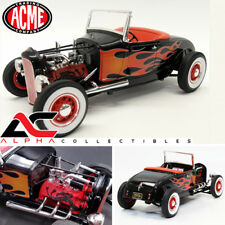 ACME A1804002 1:18 1929 FORD HOT ROD BLACK WITH FLAMES
