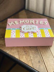 Upcyled Cigar Box Baby Girl Keepsake Memory Photo Box