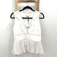 Zac Zac Posen Top Size 2 Deep V- Neck Ruffle Peplum Sleeveless Blouse 100% Silk