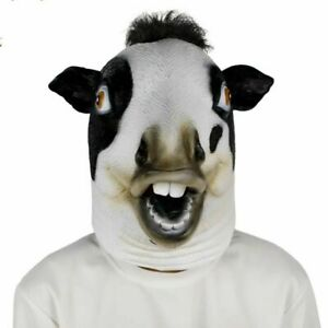 Latex Cute Cow head hooded Mask Halloween club Masquerade Costume Party Cosplay