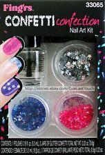 FING'RS*Nail Art Kit HEART 2 ART Shape Glitter+Polish CONFETTI CONFECTION #33065