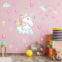Unicorn Rainbow Stars Hearts Wall Stickers Kids Bedroom Nursery DIY Decals~