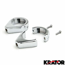 Chrome Motorcycle Turn Signal Indicator Relocation Clamp Kit Fits 41mm Fork Tube