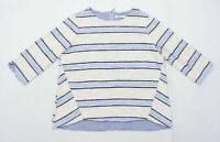 Per Una Womens Size 14 Striped Cream Blue Top (Regular)
