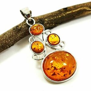 """NATURAL BALTIC AMBER GEMSTONE SILVER PLATED PENDANT JEWELRY 2"""" #SGJPDT1007"""