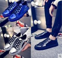 Mens Casual Patent Leather Lace up Round Toe Sneakers Shoes White black Flat