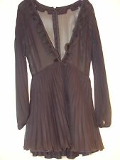 Topshop Jones & Jones Black Chiffon Pleated Dress Size 10 RRP £65