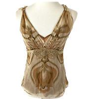 Tahari Tank Top Beaded Silk Blouse Boho Chic Rustic Top Woman's Size Small