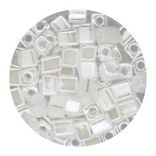 Square Glass Beads Japan 4mm Miyuki Cube White Opal