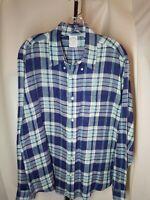 Mens Brooks Brothers REGENT  XL  Blue Plaid Check Irish Linen  L/S Button  Shirt
