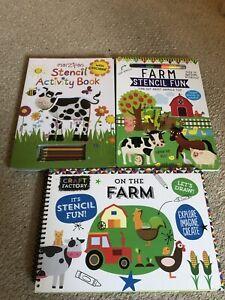 3 X Farm Stencil Activity Books