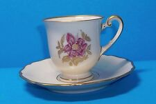 R/Y HOHENBERG BAVARIA CHINA DEMITASSE CUP AND SAUCER DELICATE PINK FLOWER