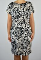 White Stuff Aline Dress Ivory Black Ikat Design Summer Holiday Casual Size 12 AP
