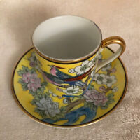 Vintage Japanese Hand Painted Yellow Imari Cup & Saucer Set, Flowers, Birds