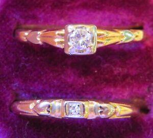 14K VINTAGE ART DECO NATURAL VS DIAMOND SOLITAIRE ENGAGEMENT RING WEDDING SET