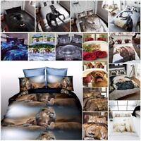Duvet Cover Sets 3D Animal Print Bedding Pillow Cases Al King Size Double Single