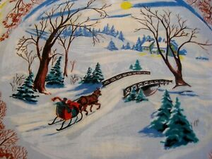Vintage Rayon scarf winter scenes square 28 x 30