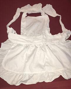Aspire S Adult Cotton White Ruffle Apron, Tie Back Dress, Kitchen Maid Costume S
