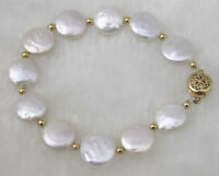 Fashion Handmade Natural White 11-12mm Coin Freshwater Pearl Bracelet 7.5""