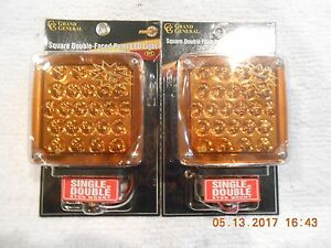 Square Double Face LED Pearl Lights / Kenworth Style / Amber/ Red