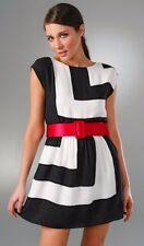 New Alice + Olivia Madeline Dress - Black and White w/ Red Belt - Size Large