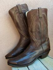 LUCCHESE Mens Handmade Classics Cowboy Boots Soft Brown Buffalo Calf Sz Size 12D