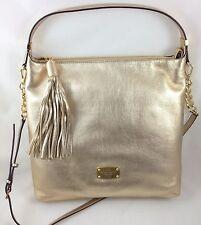 New Michael Kors MK Bedford MD TZ Tassel Shoulder Bag Purse Handbag Gold Leather