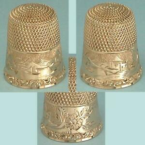 Antique 14 Kt Gold Hand Engraved Thimble w/ Flowers & Sailboat * Circa 1890s