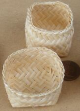 1:12 Scale Square Woven Bamboo Basket & Lid Dolls House Miniature Accessory D