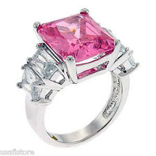 White Gold Ep Ladies Fashion Ring Rose Pink Cubic Zirconia Stone Silver